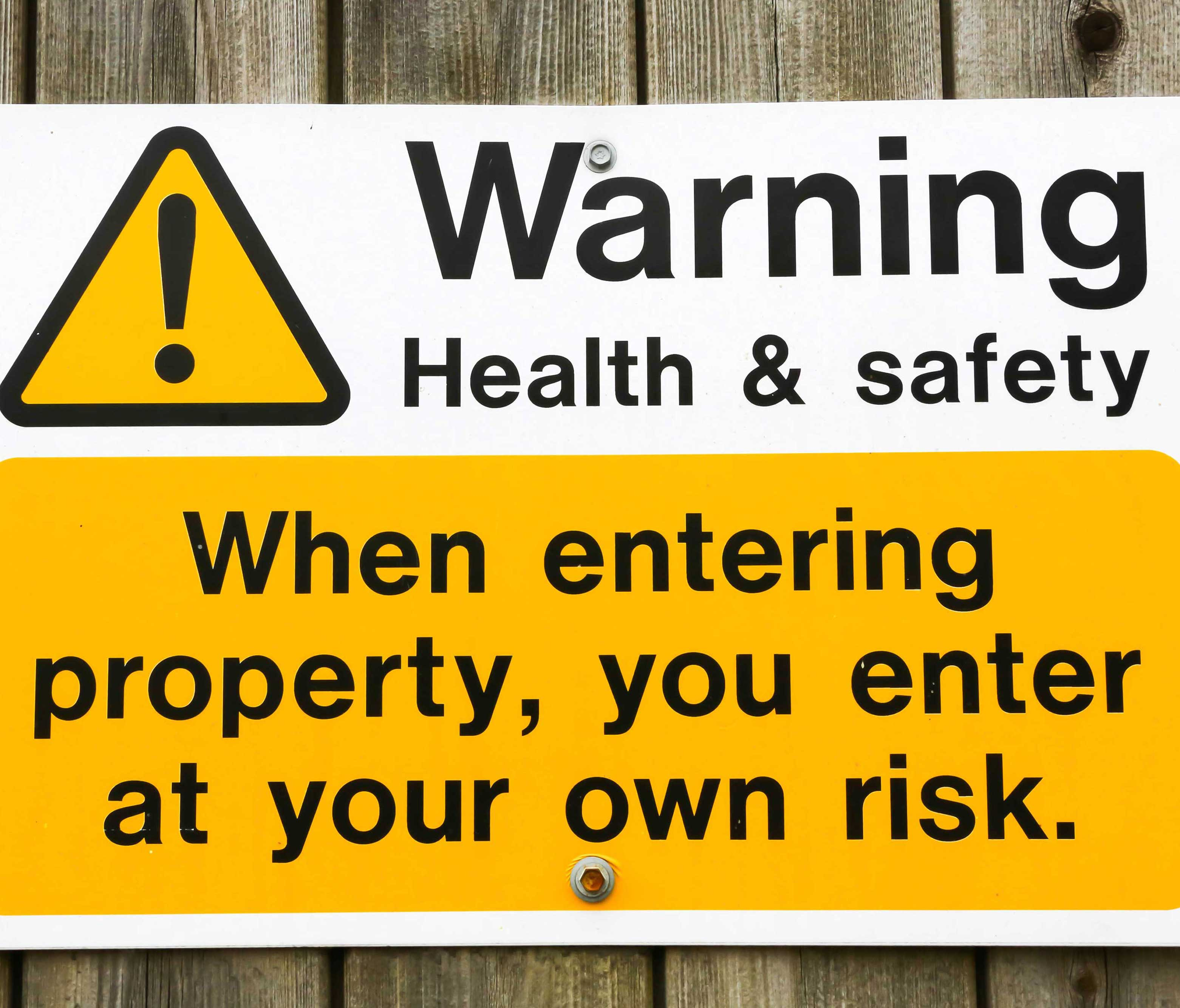 Health and safety warning sign