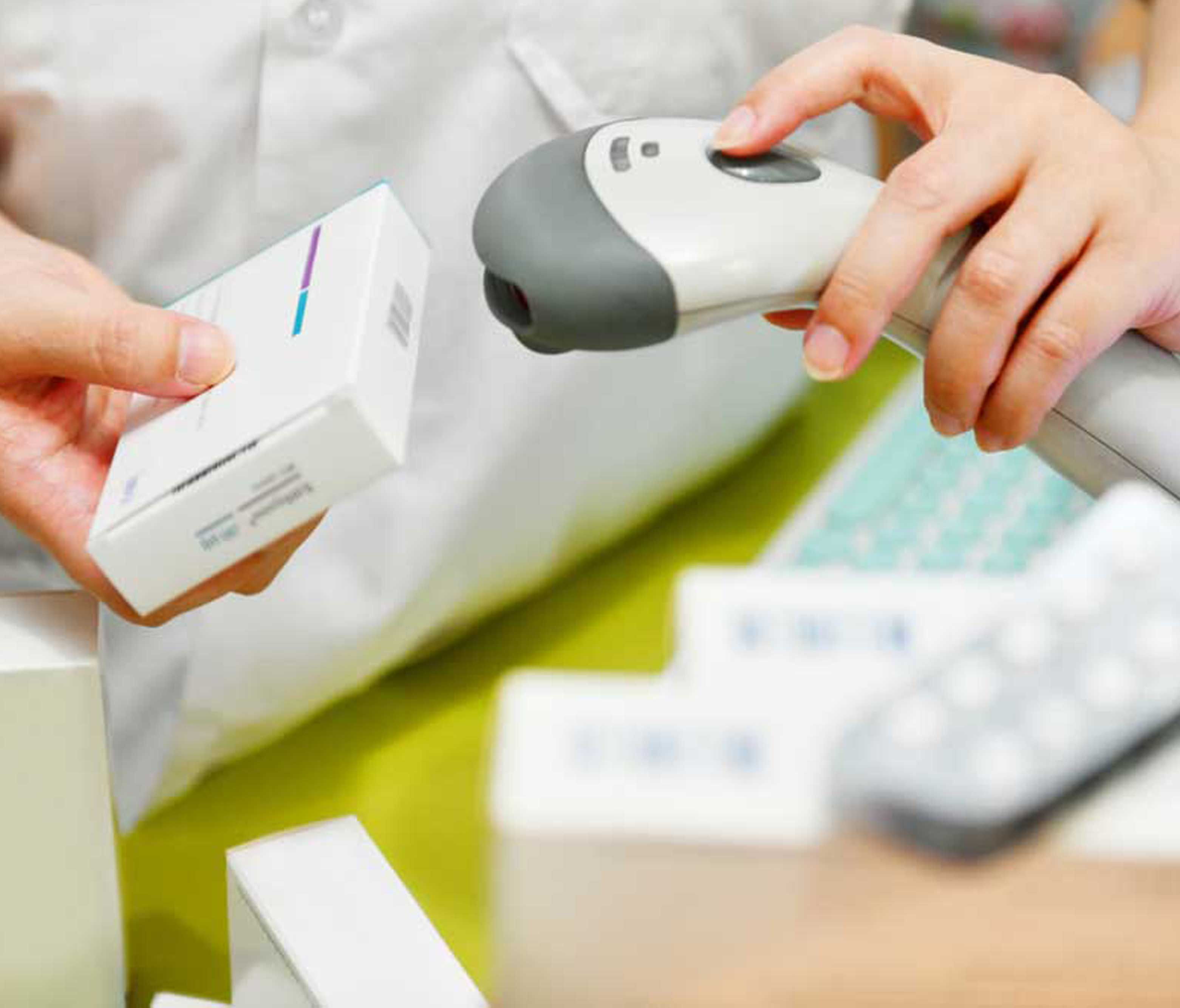 Barcode verifier being used in pharmacy