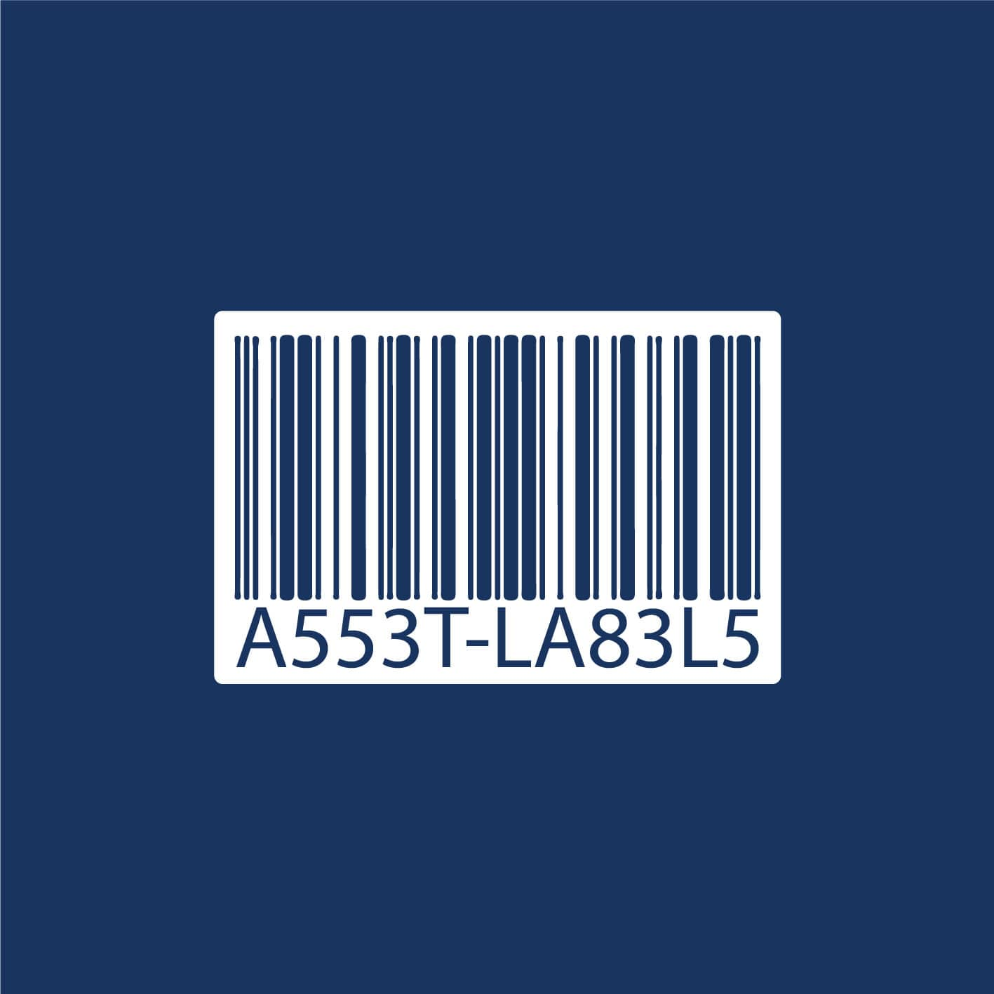 Words asset label on a barcode
