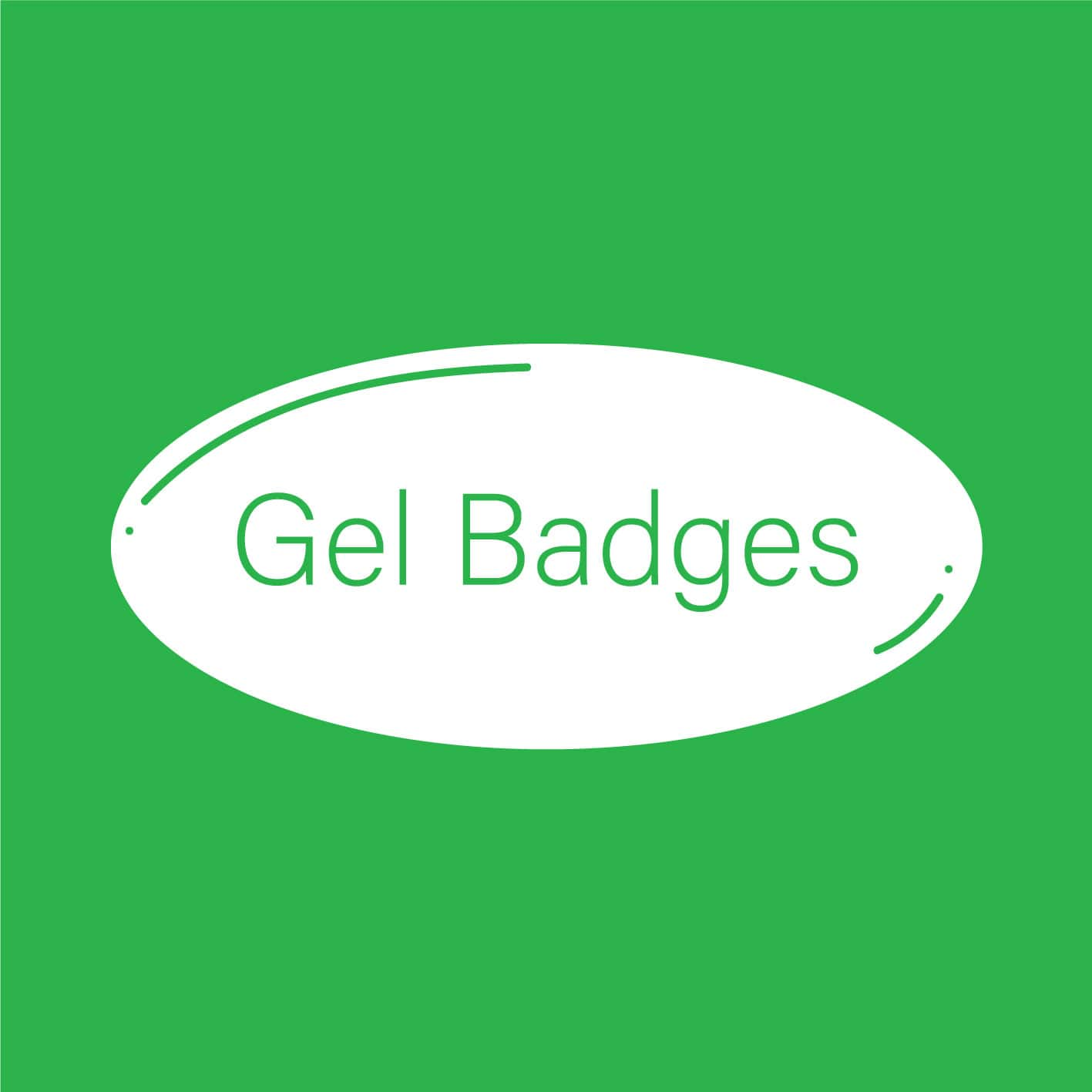 gel badges text on a green background