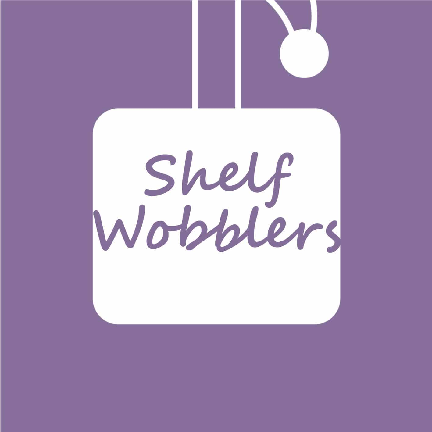 Purple shelf wobbler