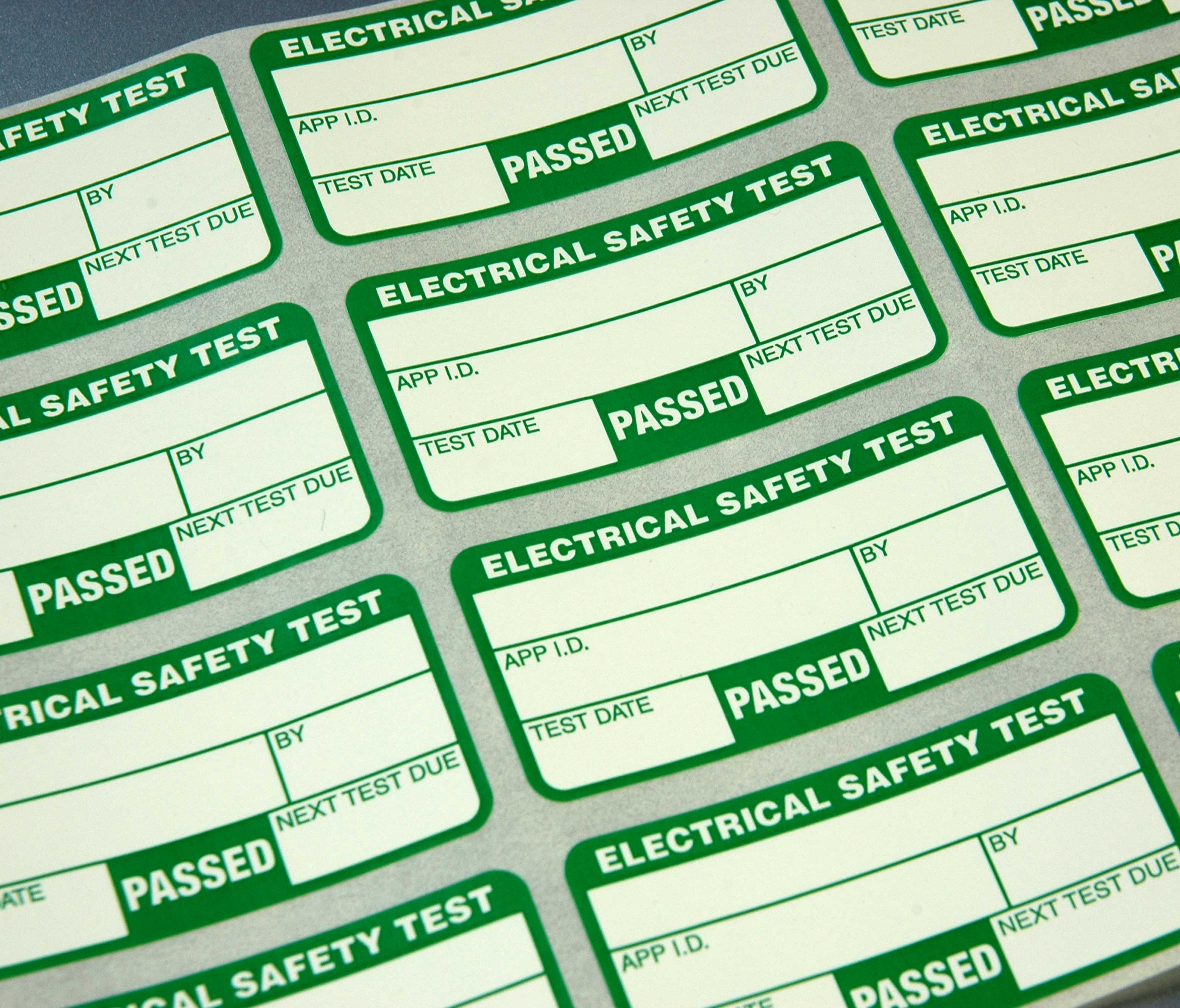 Electrical Safety Test Labels